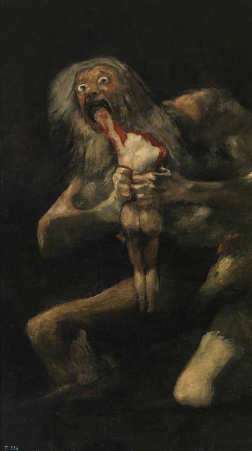 Saturno devorando a un hijo, de Francisco de Goya y Lucientes (1820 - 1823)