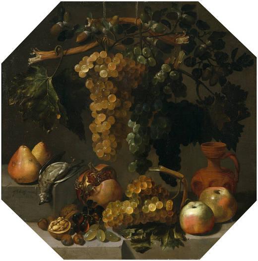 Bodegón ochavado con racimos de uvas (Juan Espinosa, 1646)