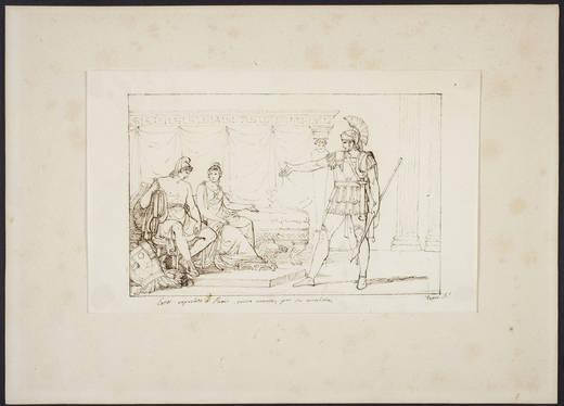Héctor reprendiendo a Paris severamente por su cobardía (Rafael Tegeo Díaz, 1833 - 1856)