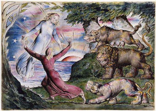 Dante huyendo de las tres bestias