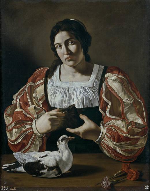 Mujer con paloma (Cecco de Caravaggio, 1610 - 1620)