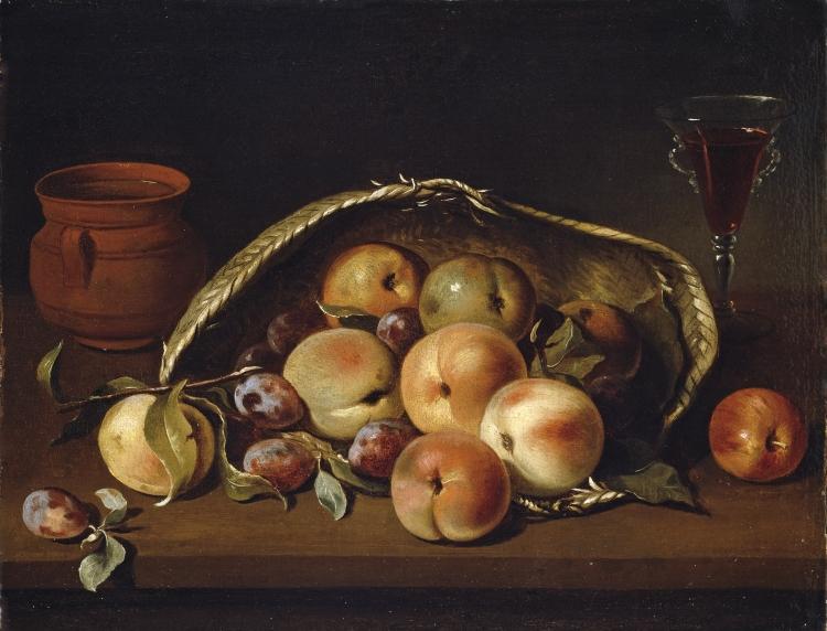 Cesto con melocotones y ciruelas (Pedro de Camprobín, 1654)