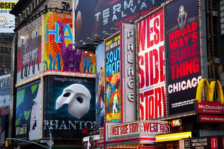 Carteles funciones de Broadway Nueva York