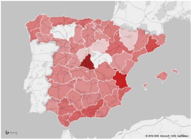 Figura 3.  Mapa de las provincias donde más se venden libros de segunda mano en internet. Fuente: tablondeanuncios.com